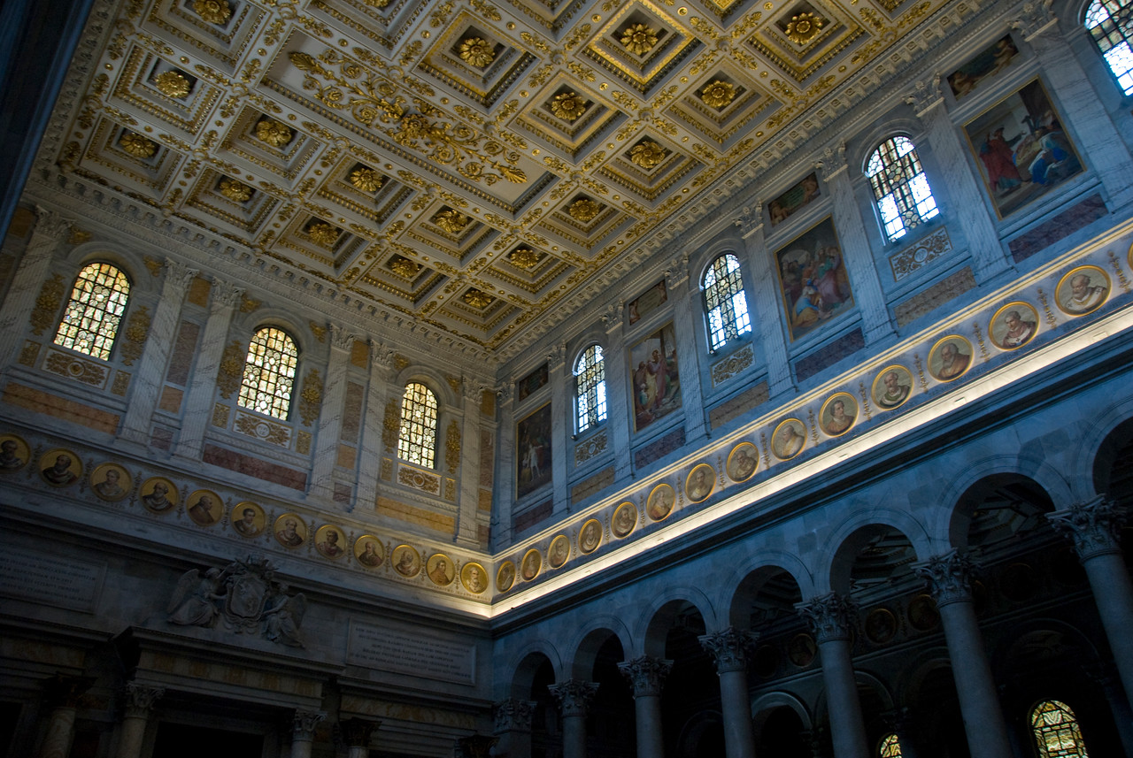 Interior details of St. Paul's Basilica in Rome, Italy