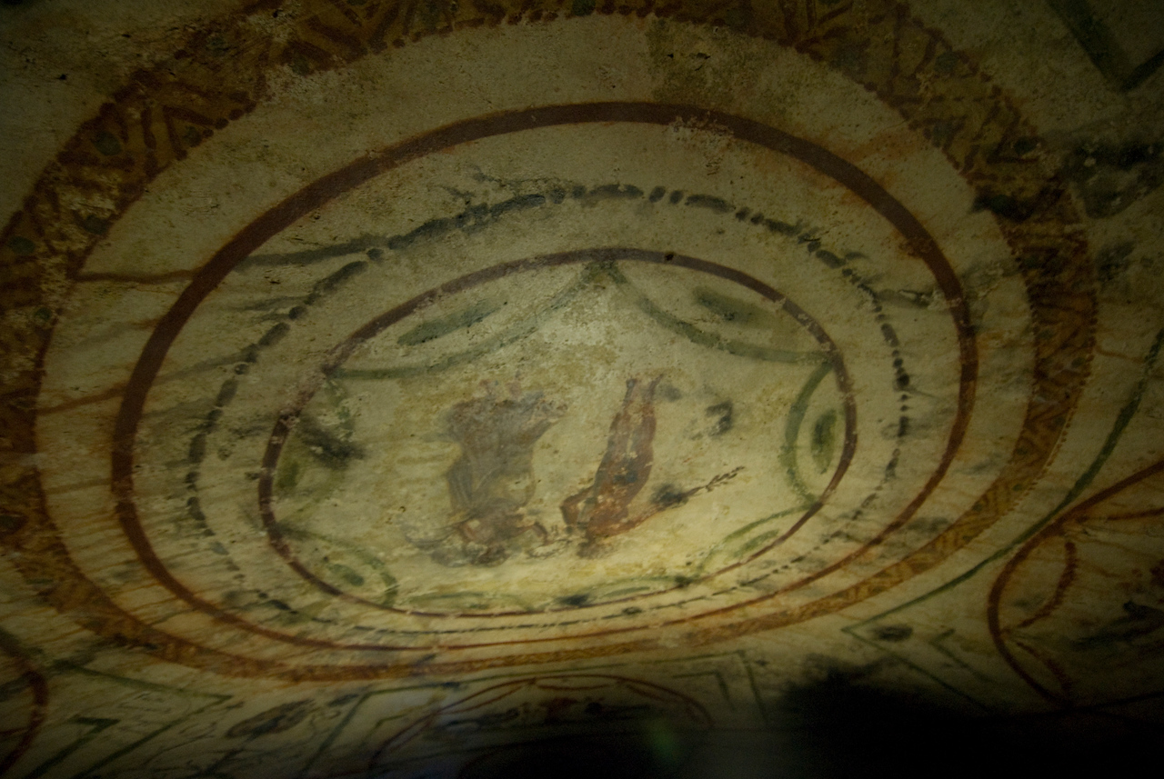 Details of art in archaeological site in Rome, Italy