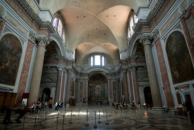 Inside St. Mary of the Angels and Martyrs in Rome, Italy