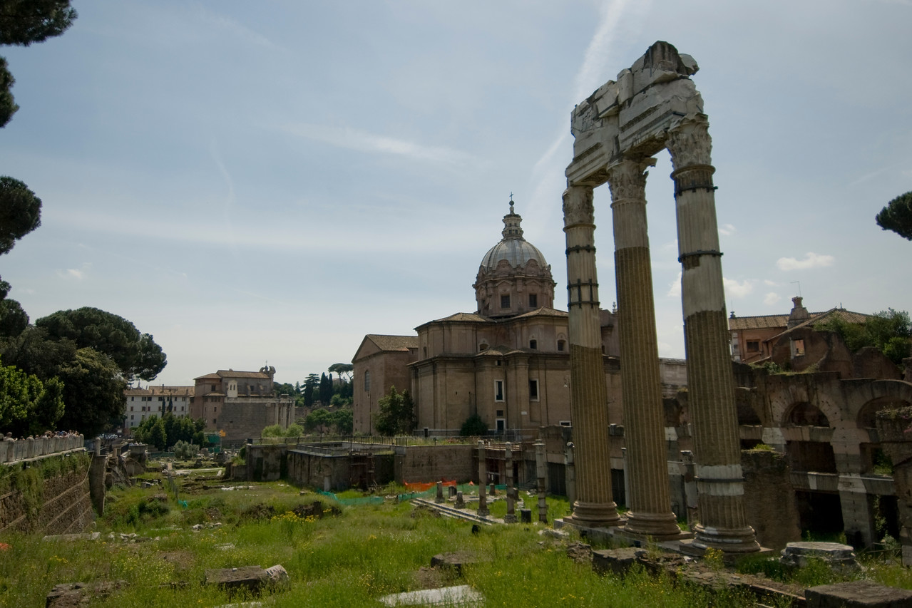 The ruins at Roman Forum in Rome, Italy