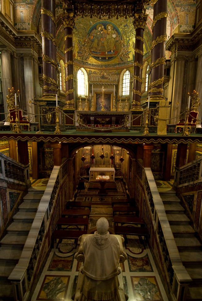 Looking down the double altar in Basilica of Saint Lawrence outside the Walls - Rome, Italy