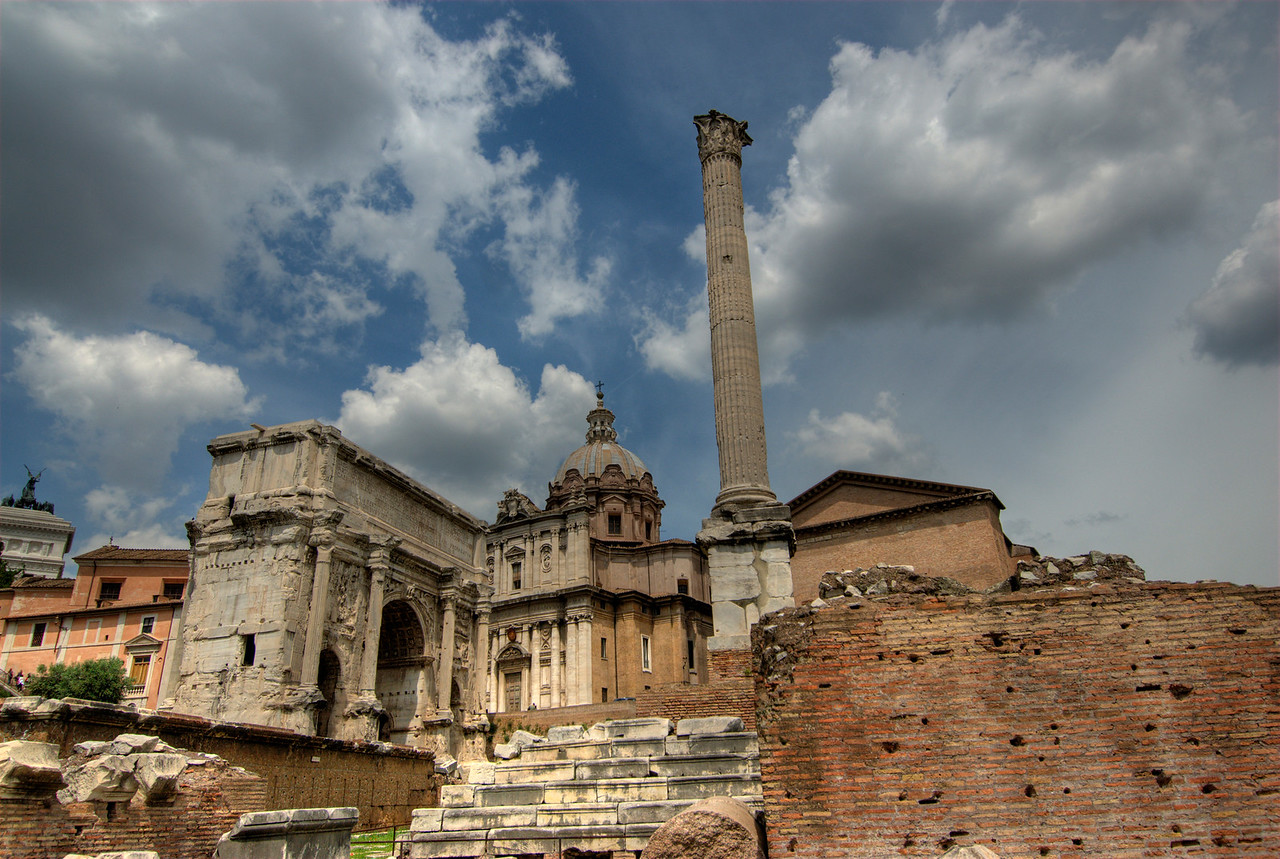 Ruins and columns at the Roman Forum in Rome, Italy