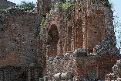 Remains of a wall structure at the Ancient theatre of Taormina in Sicily, Italy