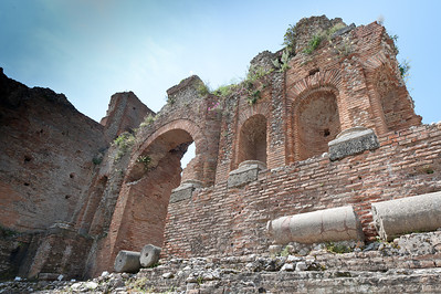 Dilapidated walls at the Ancient theatre of Taormina in Sicily, Italy