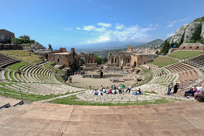 View from atop the stairs at Ancient theatre of Taormina in Sicily, Italy