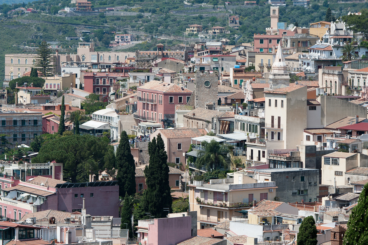 Rooftops from houses and buildings in Sicily, Italy
