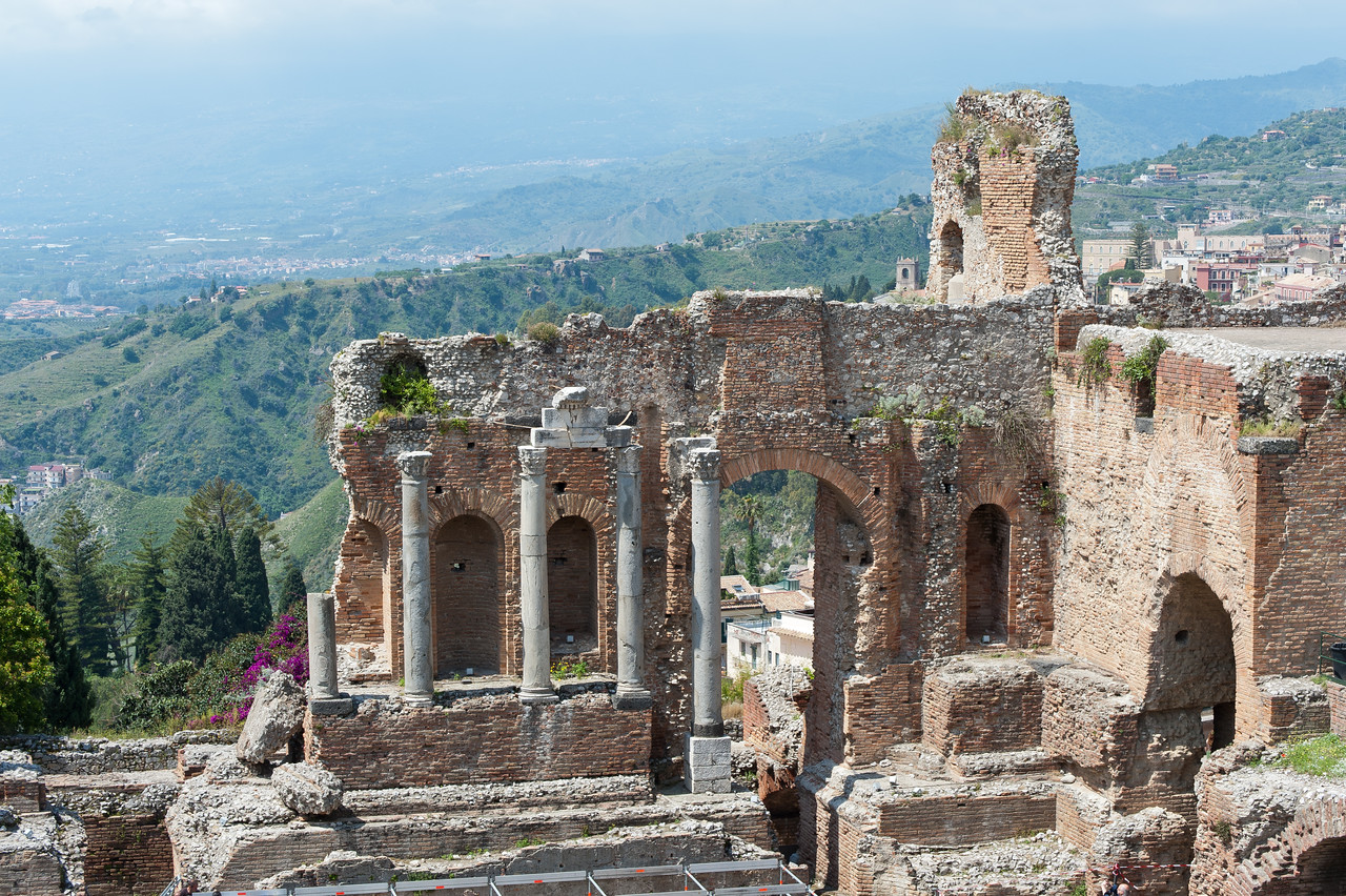 Ruined pillars at Ancient theatre of Taormina in Sicily, Italy