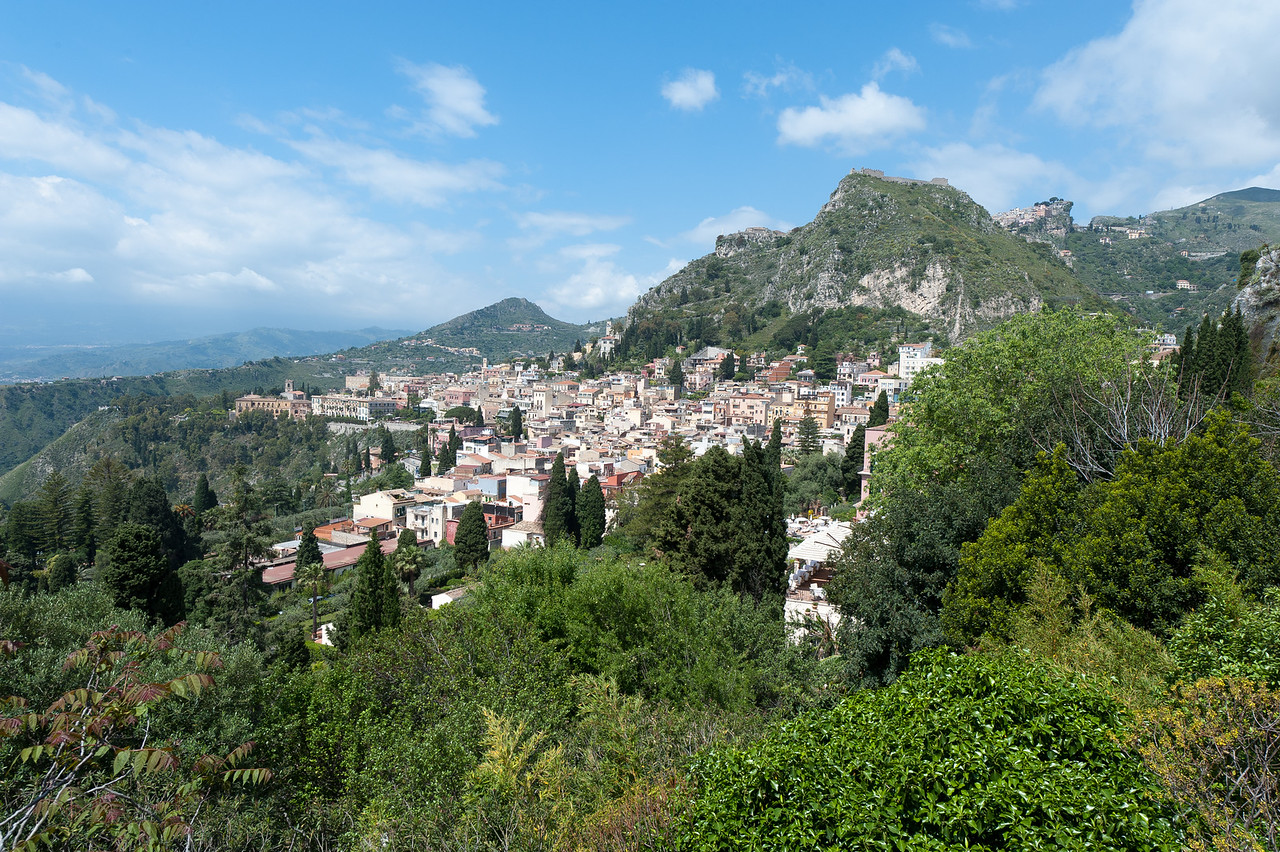 Overlooking view of a village in Sicily, Italy