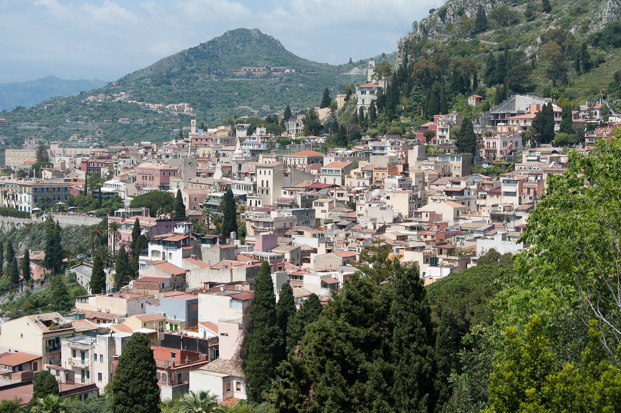 Rooftops and houses on a hill in Sicily, Italy
