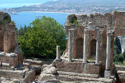 Ruins of the Ancient theatre of Taormina in Sicily, Italy
