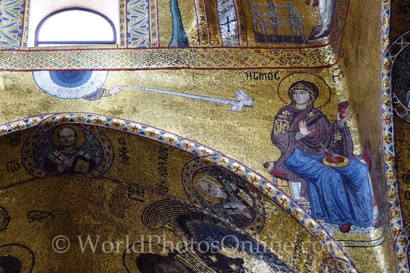 La Martorana - Mosaics - Immaculate Conception (dove) of Mary