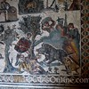 Mosaic on right corner floor of small hunt room; Man gored by boar