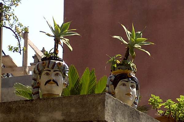 Man and Woman Flower Pots - Taormina, Sicily