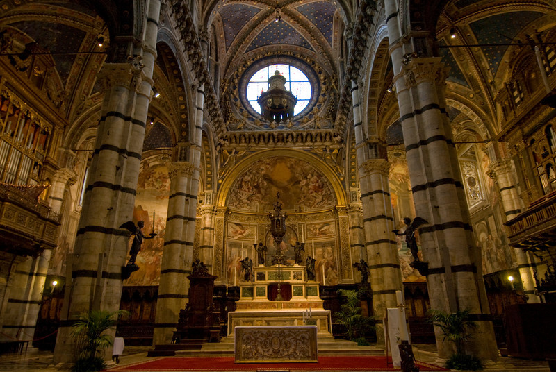 Details inside the Siena Cathedral in Italy