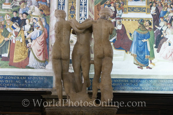 Siena - Cathedral of Siena - Piccolomini Library - Three Graces, Roman copy of Greek original