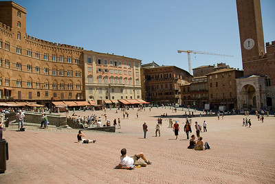 Tourists at Piazza del Campo in Siena, Italy