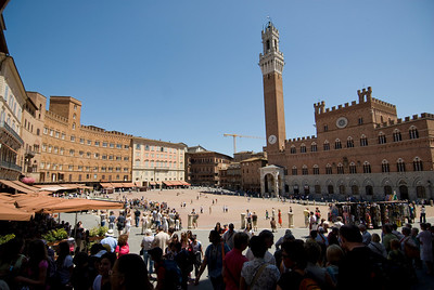 Wide shot of the Piazza del Campo in Siena, Italy