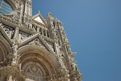 Architectural details on Siena Cathedral in Italy