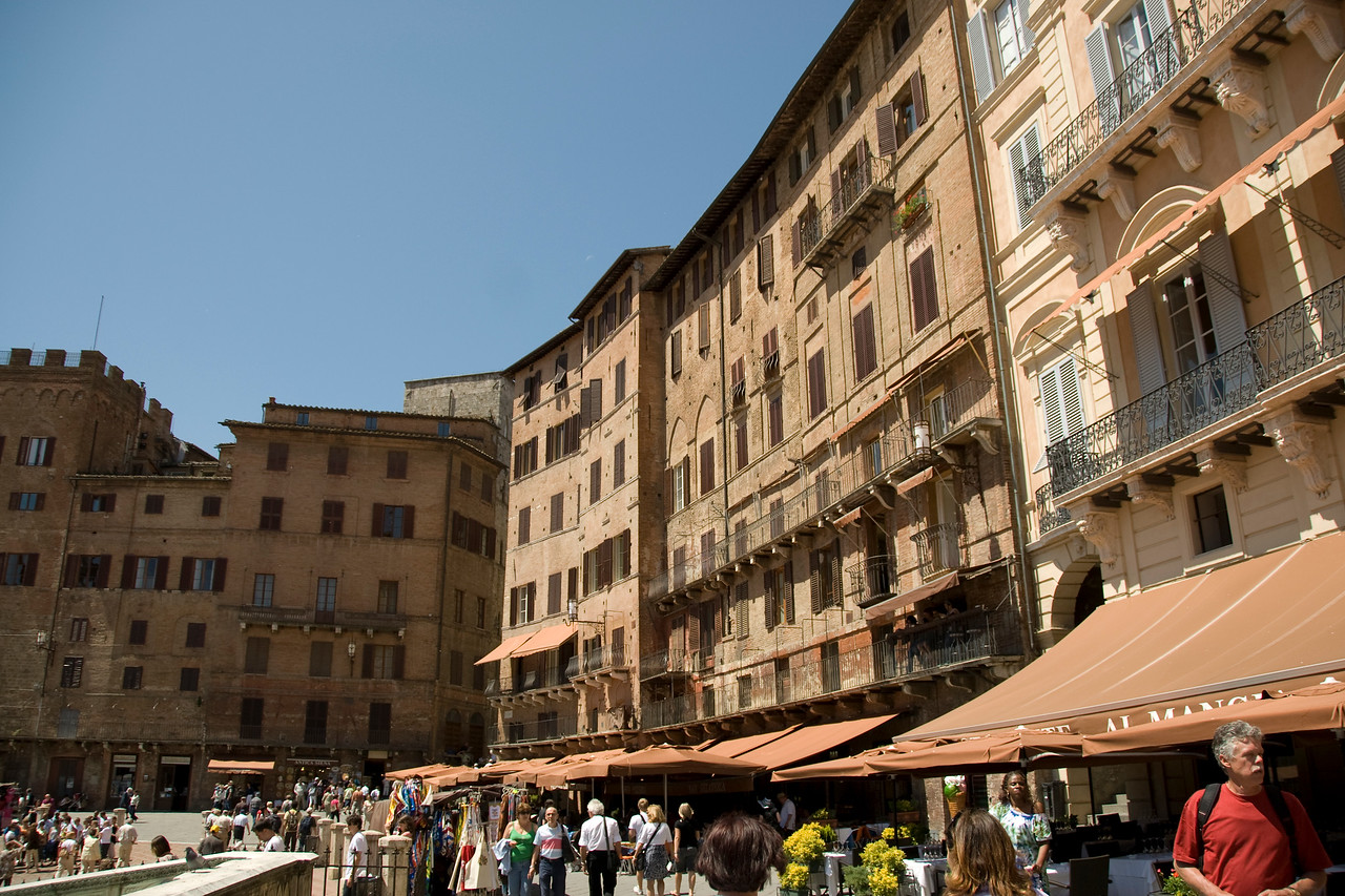 Row of buildings at Piazza del Campo in Siena, Italy
