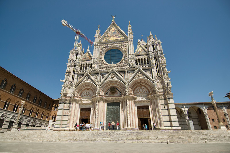The Siena Cathedral facade in Siena, Italy