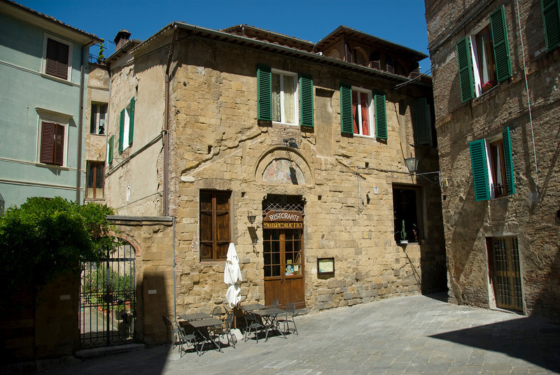 A restaurant on a street of Siena, Italy