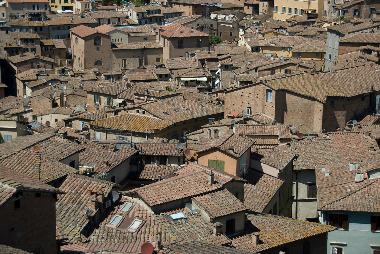 Rooftops of houses in Siena, Italy