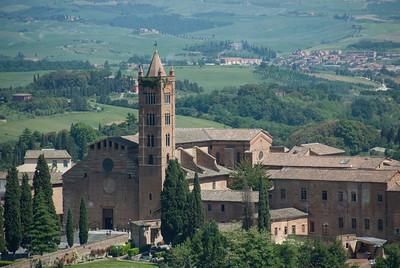 View of the The Church of Santa Maria dei Servi from afar - Siena, Italy