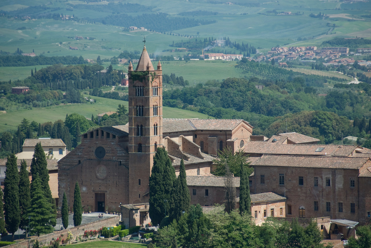 View of the The Church of Santa Maria dei Servi from afar - Siena, Italy