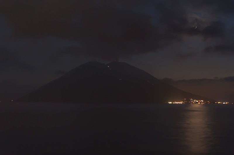 Stromboli at night in Italy