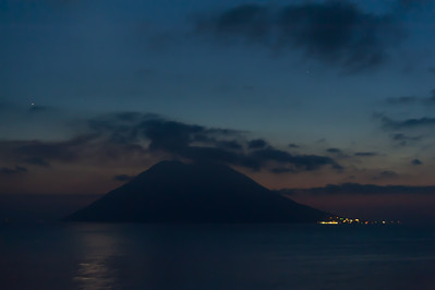 Silhouette of the Stromboli at sunset - Italy