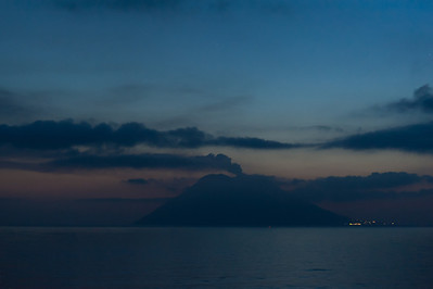 Silhouette of Stromboli at sunset - Italy