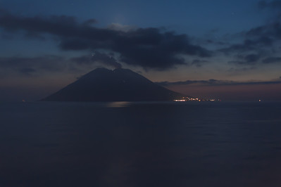 View of the Stromboli at sunset - Italy