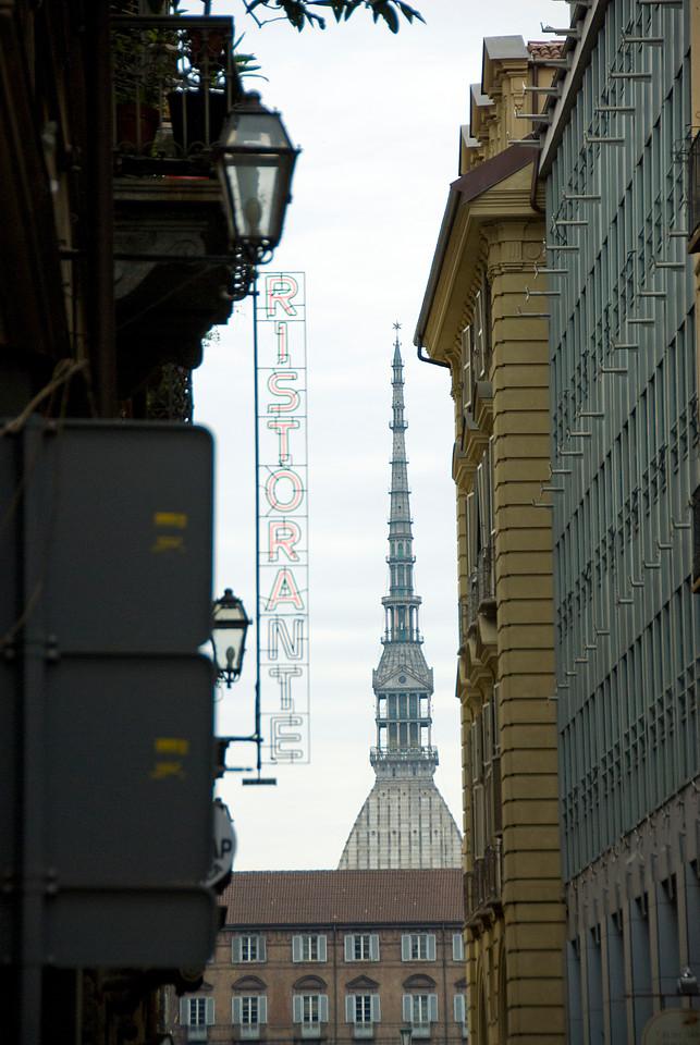 The overlooking tower of Mole Antonelliana in Turin, Italy