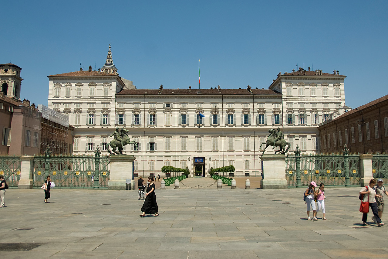 Street scene in front of the Royal Palace of Turin - Italy