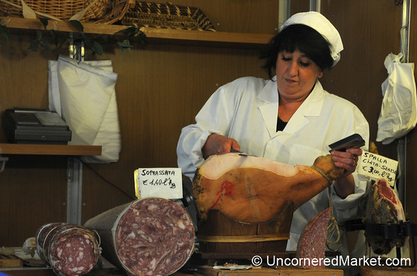 Delicately Slicing Proscuitto by Hand - Cortona, Italy