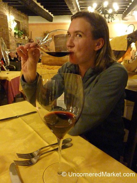 Enjoying Some Montepulciano Wine - Montefollonico, Tuscany