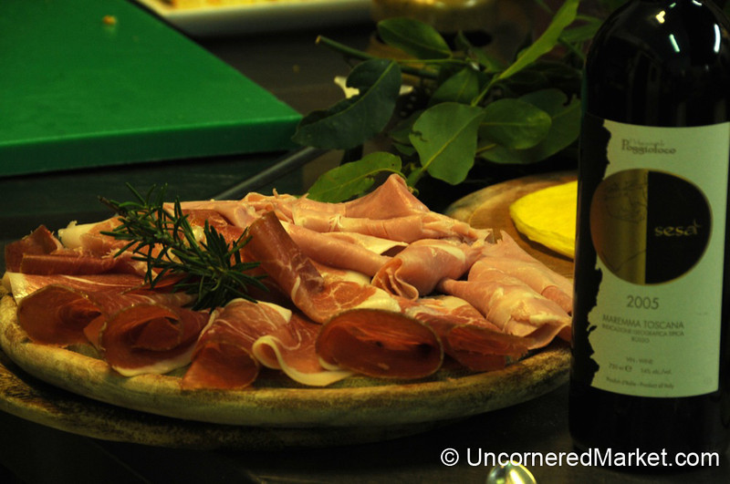 A Selection of Hams - La Filanda Restaurant in Manciano, Italy