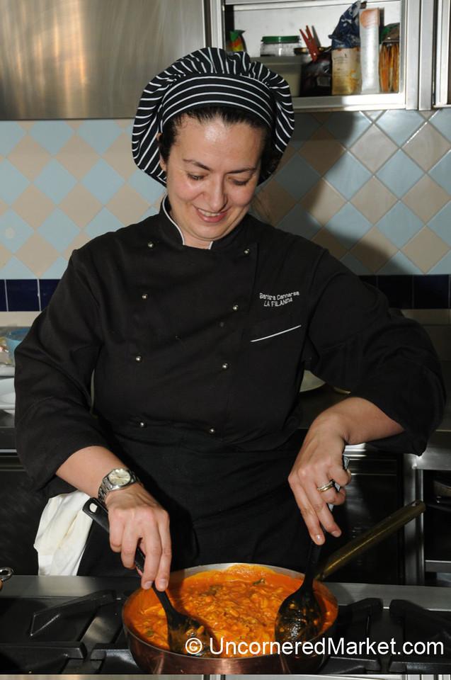Mixing Up the Tomato Soup - La Filanda Restaurant in Manciano, Italy
