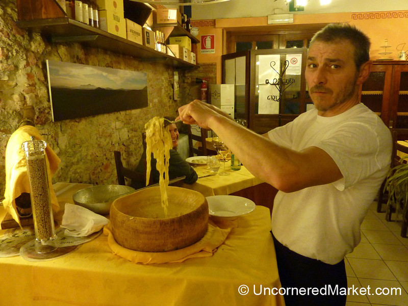 Tossing Pasta in a Pecorino Wheel - Montefollonico, Tuscany