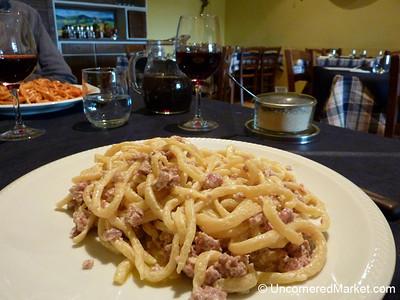 Pici Panna Salsiccia - Near Montefellonico, Tuscany