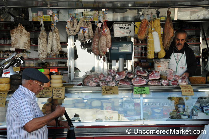 Lining Up at the Market - Montepulciano, Tuscany