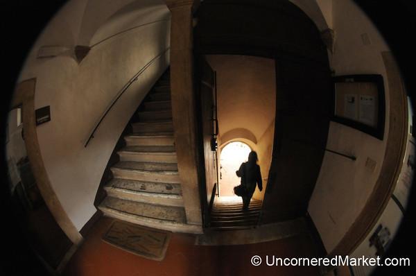 Exiting the Palazzo Comunale - Pienza, Tuscany