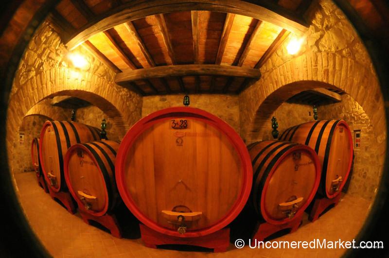 Slavonian Oak Barrels Storing Brunello di Montalcino Wines - Tuscany