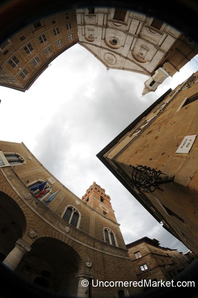 Fisheye View of Pienza's Main Square - Tuscany, Italy