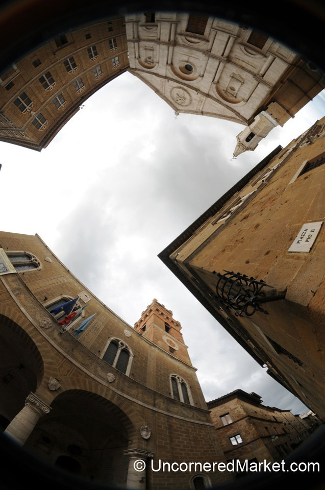 Fisheye View of Pienza's Main Square - Tuscany, Italy