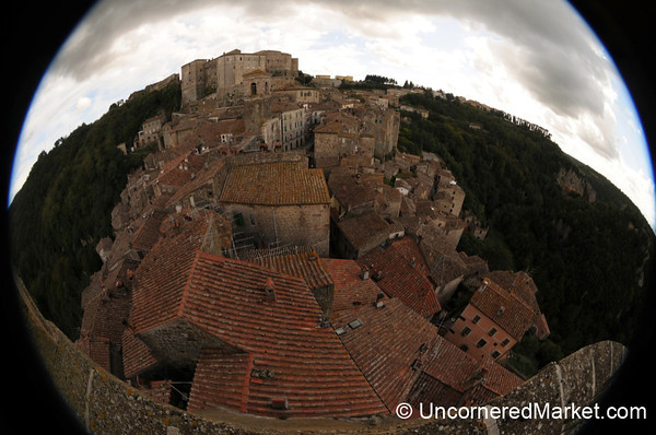 Fisheye View of Sorano's Rooftops - Maremma, Tuscany