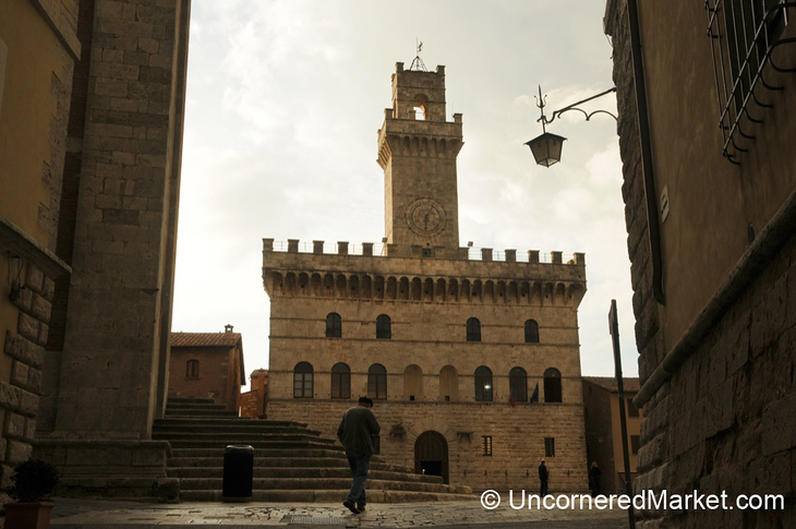 Walking Up to the Palazzo Comunale - Montepulciano, Italy