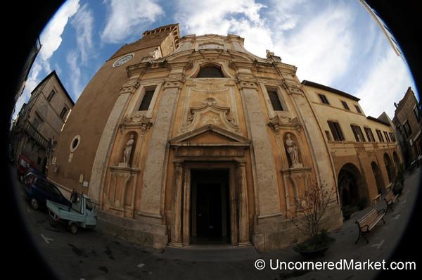 Fisheye of Cathedral Pietro e Paolo - Pitigliano, Tuscany