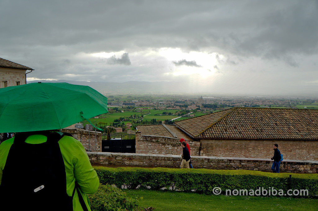 Watching the rain in Assisi