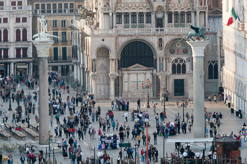 Overhead shot of the tourists at Piazza San Marco - Venice, Italy